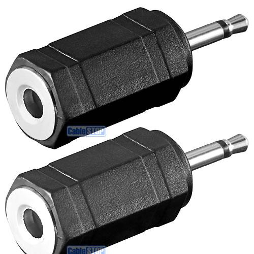 2 X Mono 2 5mm Mini Jack Male Plug To 3 5mm Aux Female